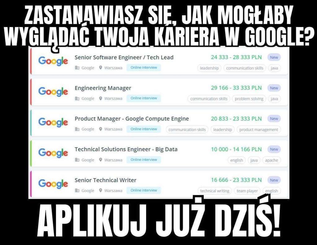 Oferty pracy w Google