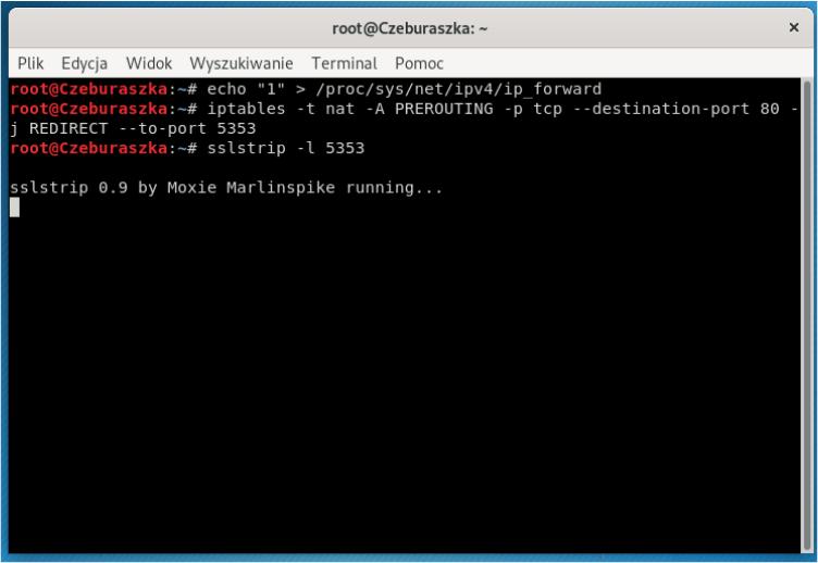Atak MITM - usunięcie warstwy SSL - Konfiguracja do ataku
