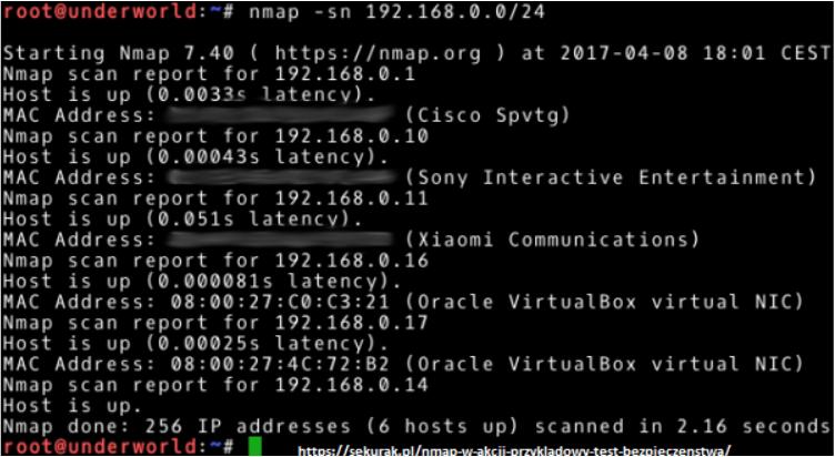 Nmap Network mapper - Atak MITM - skanowanie sieci