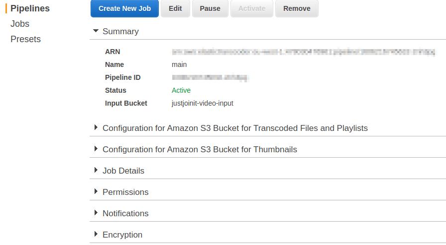 AWS Elastic Transcoder - pipelines