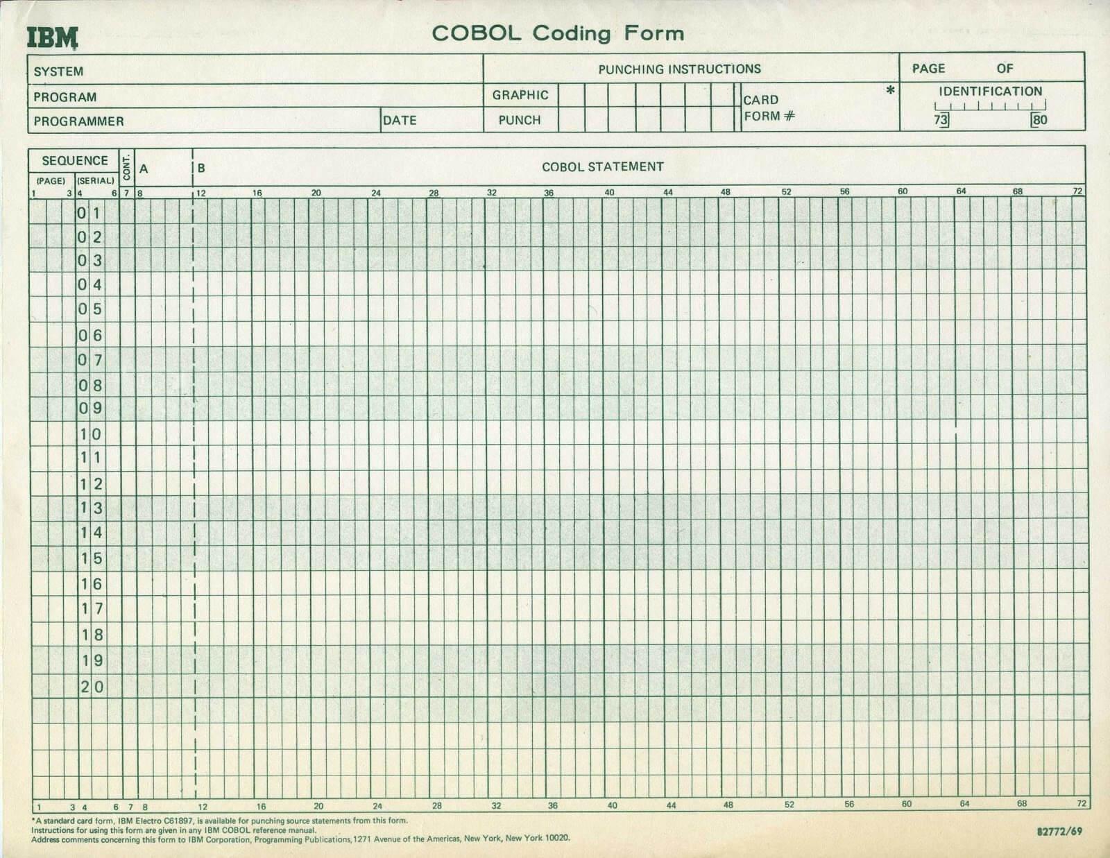 COBOL kartka