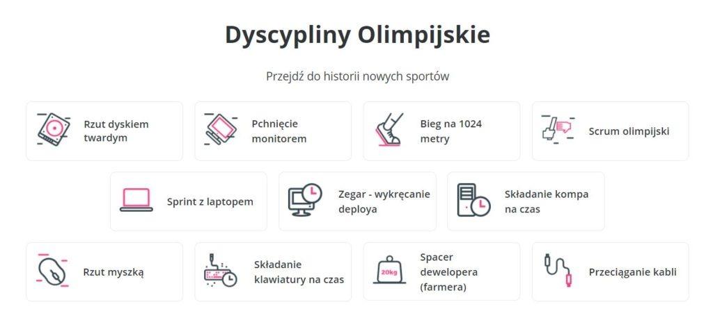 Olimpiada Just Join IT dyscypliny